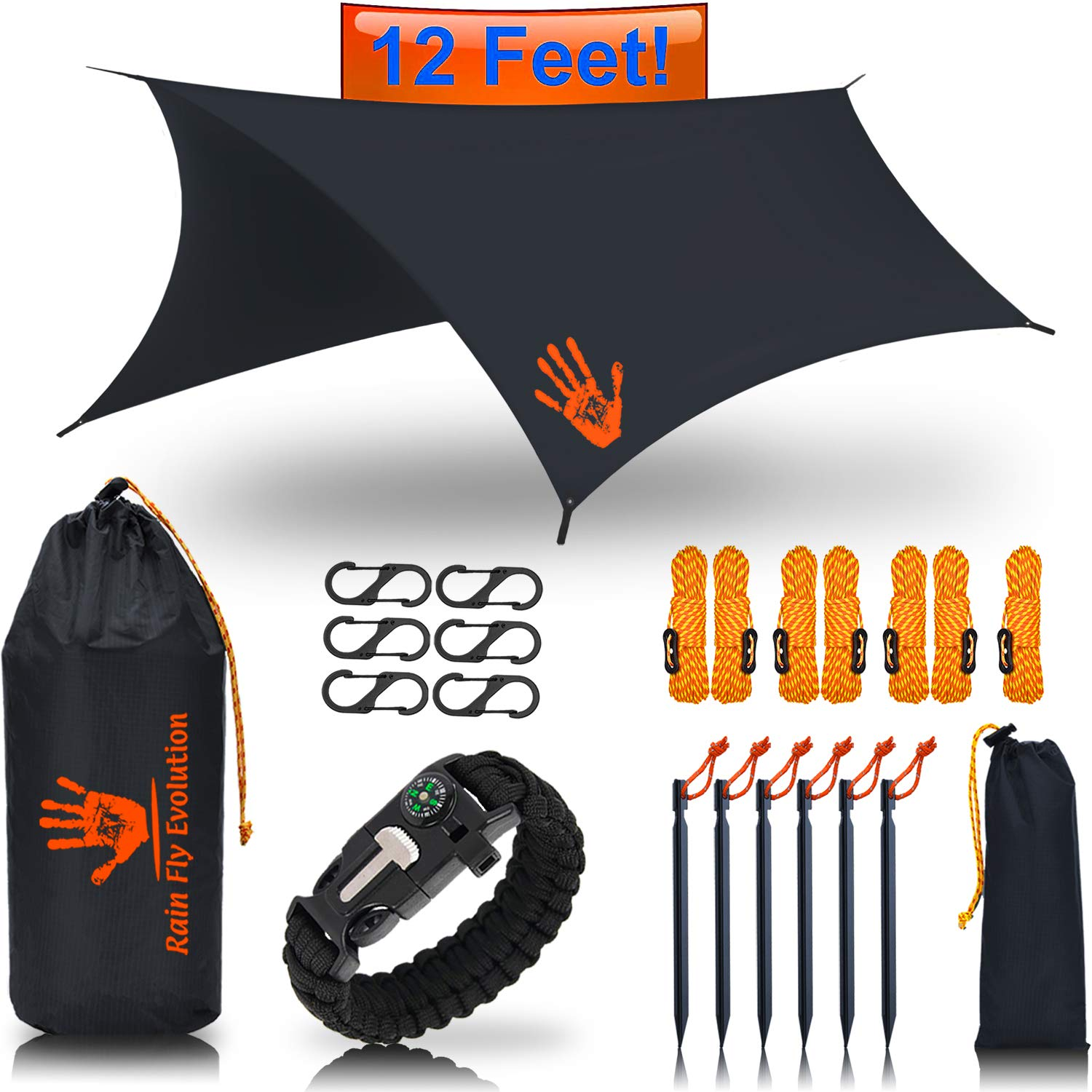 RainFlyEvolution 12 x 10 ft Hammock Waterproof RAIN Fly Tent TARP & Survival Bracelet Kit - Lightweight - Backpacker Approved - Diamond Ripstop Nylon - Perfect Hammock Shelter Sunshade for Hiking by Best Choice Products