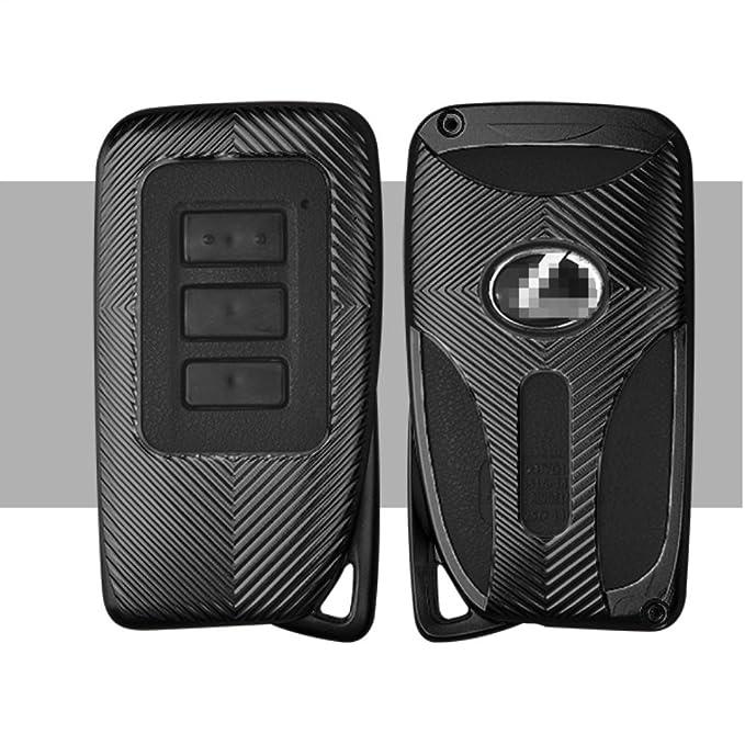 Funda para Llave de Coche para Lexus IS ES GS NX RX LX, Aleación de Aluminio Jonwelsy Llavero de Coche Smart Remote Llavero Llavero Foba Cover, Negro