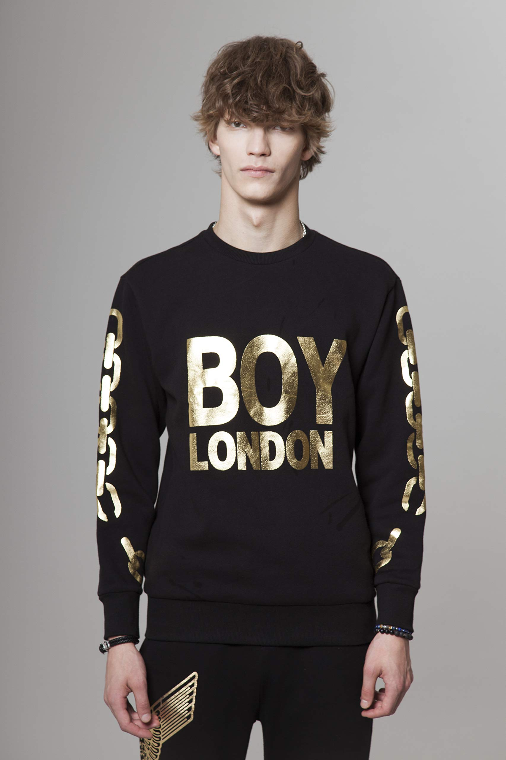 BOY LONDON Silver Chain Printed on Sleeves Sweatshirt-Black-Gold, Medium - BG4TL021 by BOY LONDON (Image #3)