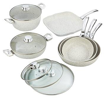 Bisetti bt-38663 stonewhite Juego de ollas de aluminio antiadherente, tamaño grande, color blanco: Amazon.es: Hogar