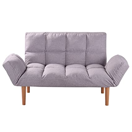 Amazon.com: QVB Convertible Loveseat Folding Couch Modern Grey Small ...