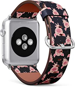 Compatible with Apple Watch iWatch (38/40 mm) Series 5, 4, 3, 2, 1 // Leather Replacement Bracelet Strap Wristband + Adapters // Pink Pigs On Blue
