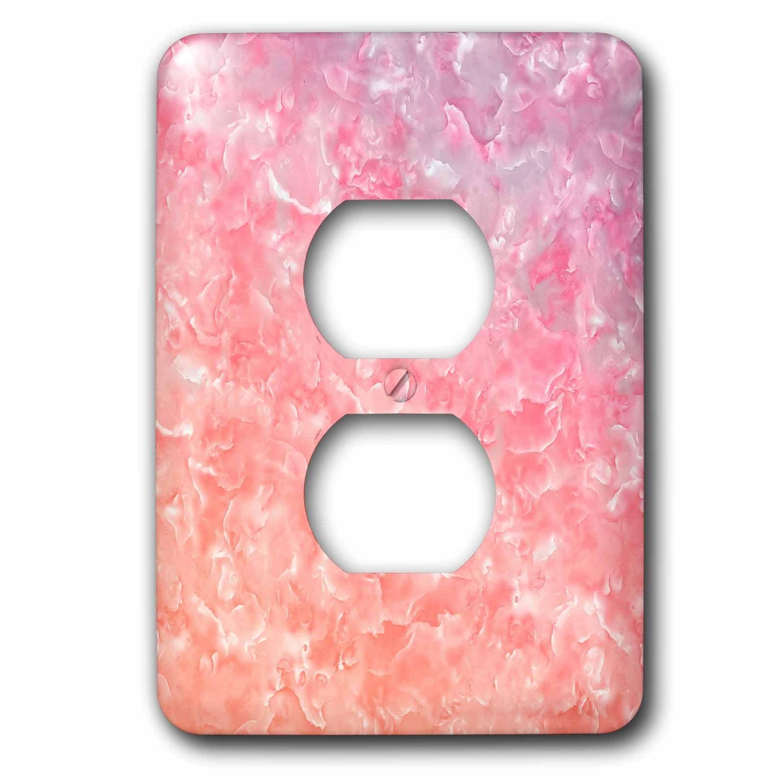 3dRose Uta Naumann Faux Glitter Pattern - Image of Trendy Luxury Dark Rose Quartz Pink Gemstone Agate Geode - Light Switch Covers - 2 plug outlet cover (lsp_275122_6)