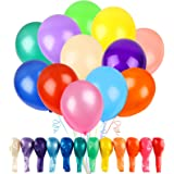 RUBFAC 120 Balloons Assorted Color 12 Inches 12 Kinds of Rainbow Party Latex Balloons, Latex Balloons for Party Decoration, B