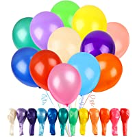 RUBFAC 120 Balloons Assorted Color 12 Inches 12 Kinds of Rainbow Latex Balloons, Multicolor Bright Balloons for Party…