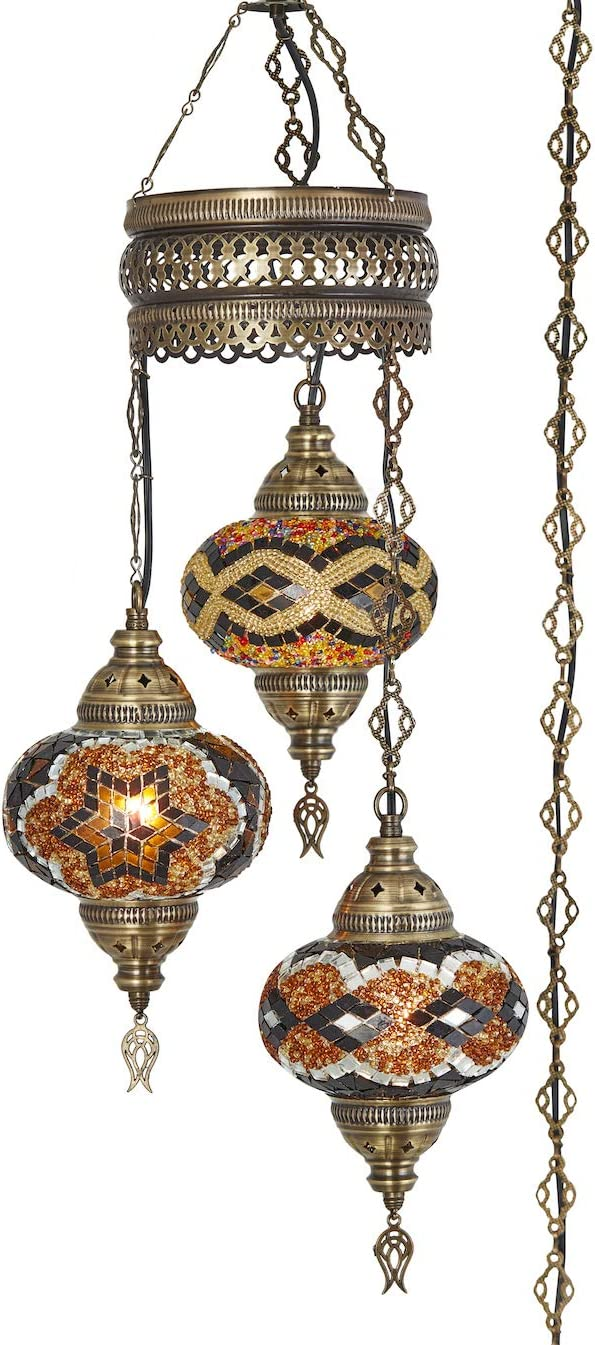 Demmex 2019 Turkish Moroccan Mosaic Hardwired OR Swag Plug in Chandelier with 15feet Cord Cable Chain 3 Big Globes Amber Amber Plug in