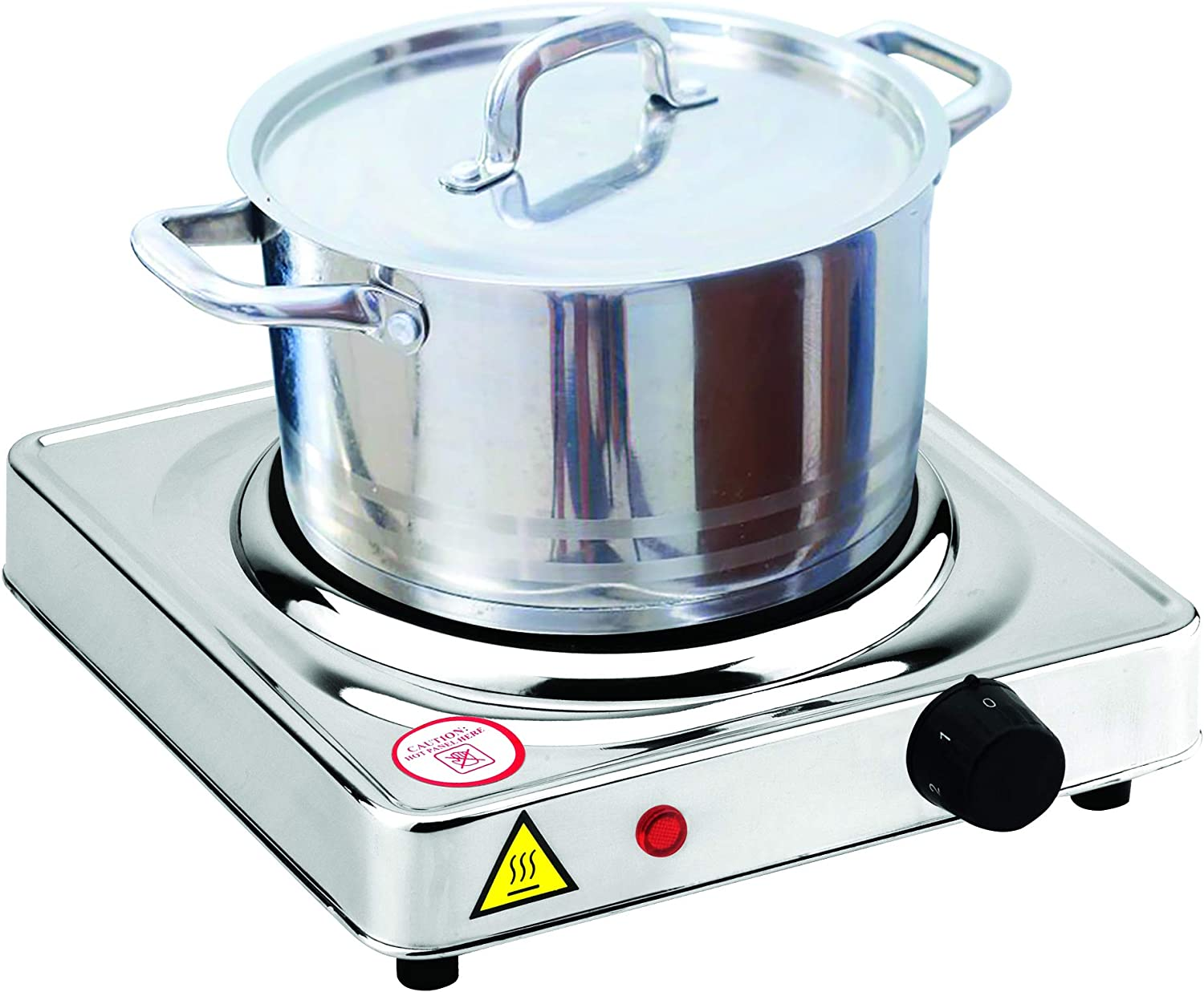 Dominion Hot Plate Electric Burner Single Burner, Stainless Steel, Heating Plate Portable Burner with Adjustable Temperature Control, 1000 Watts, Stainless Steel, Non-Slip Rubber Feet Easy To Clean