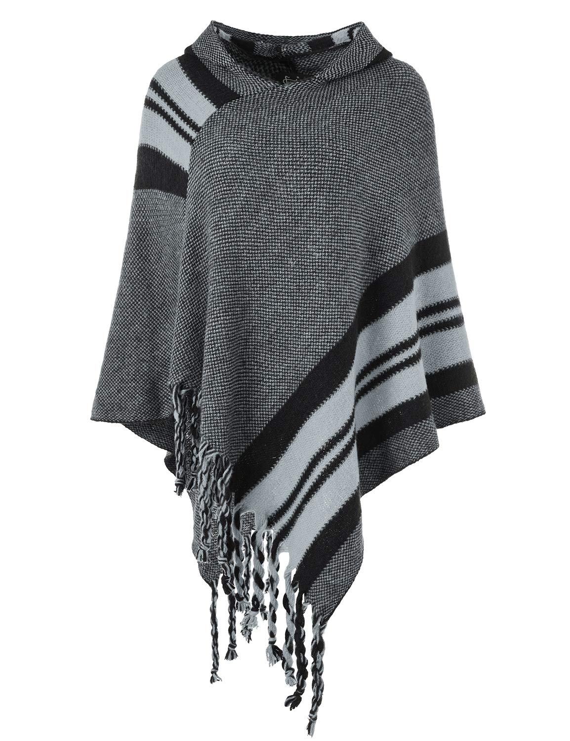 Ferand Women's Hooded Knit Striped Cape Poncho Sweater with Fringes, One Size, Grey