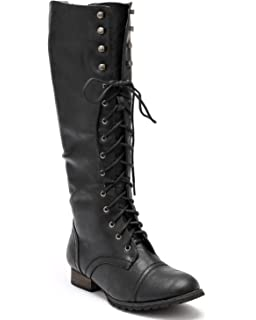 66db52e093a Breckelle s Women Leatherette Military Combat Lace Up Knee High Boot AD47 -  Black