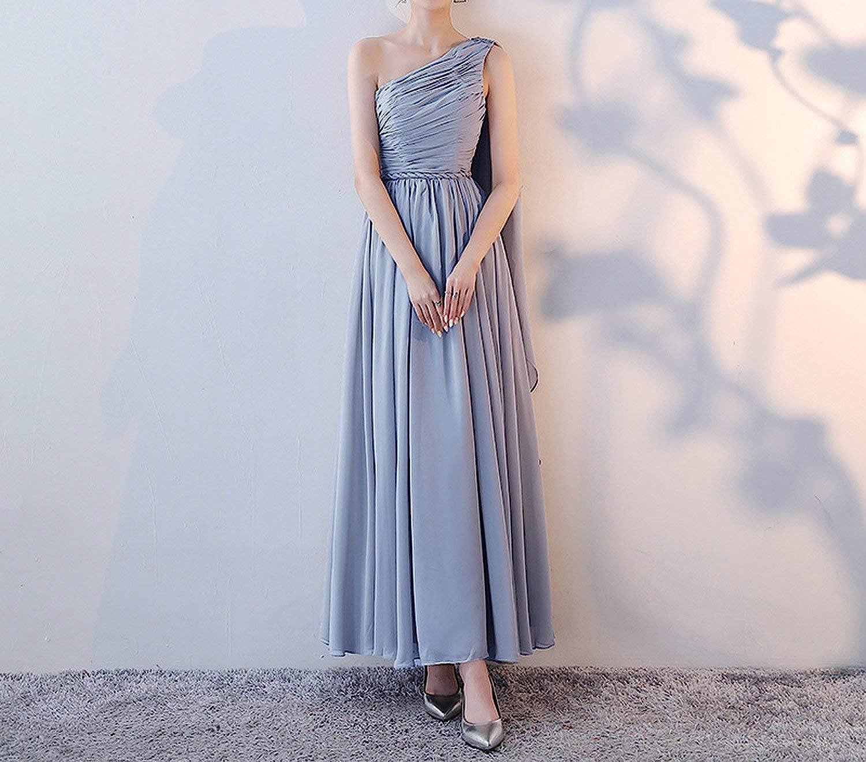 Heat-Tracing Chiffon Pink Silver Gray Bridesmaid Dresses Elegant Wedding Party Prom Dresses F-light Silver Gray