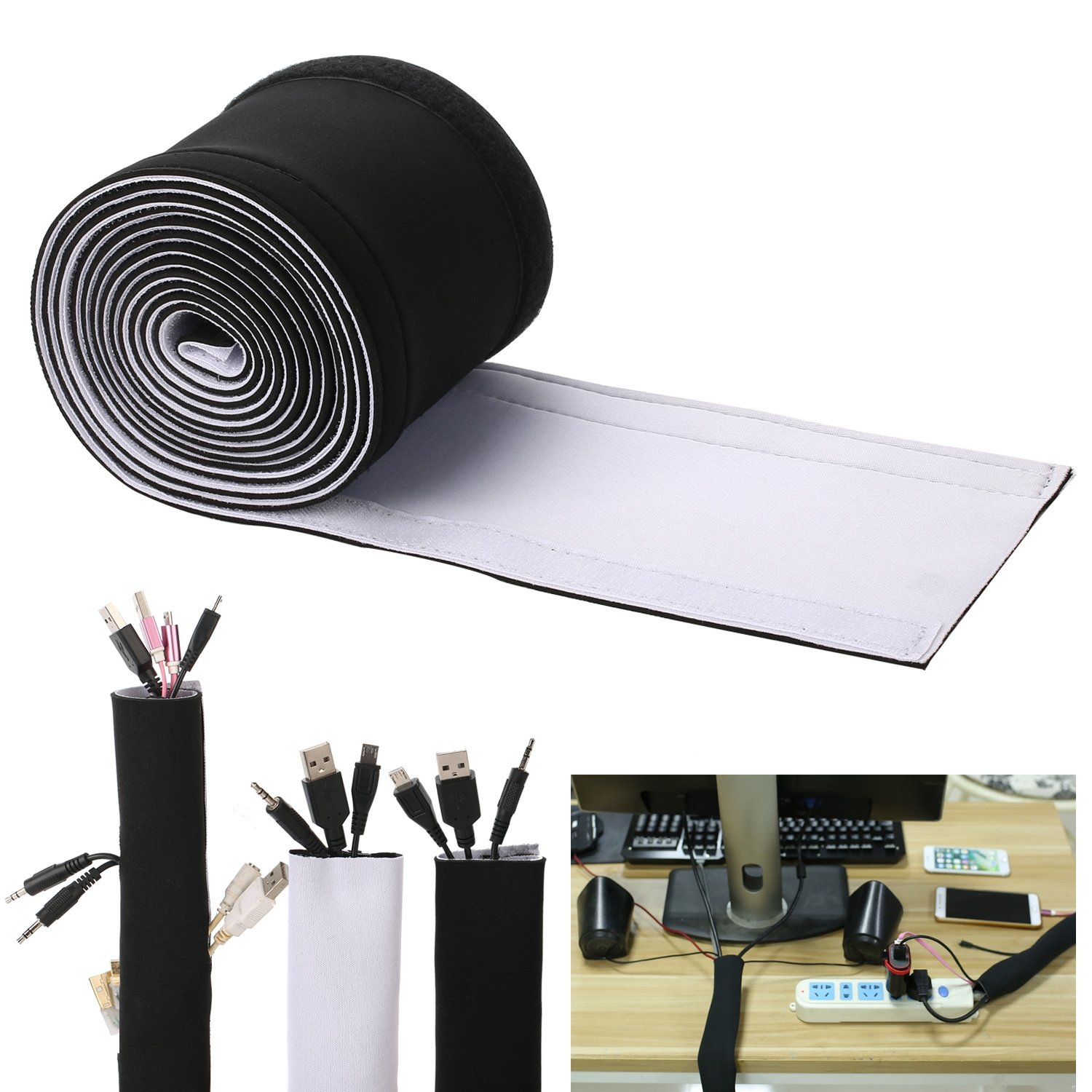 Cable Management Sleeves, Neoprene Cable Organizer Wrap Flexible Cord Cover Wire Hider Reversible Black & White, Cuttable by Yourself for TV Computer Office Theater,Looks neat,More tidy