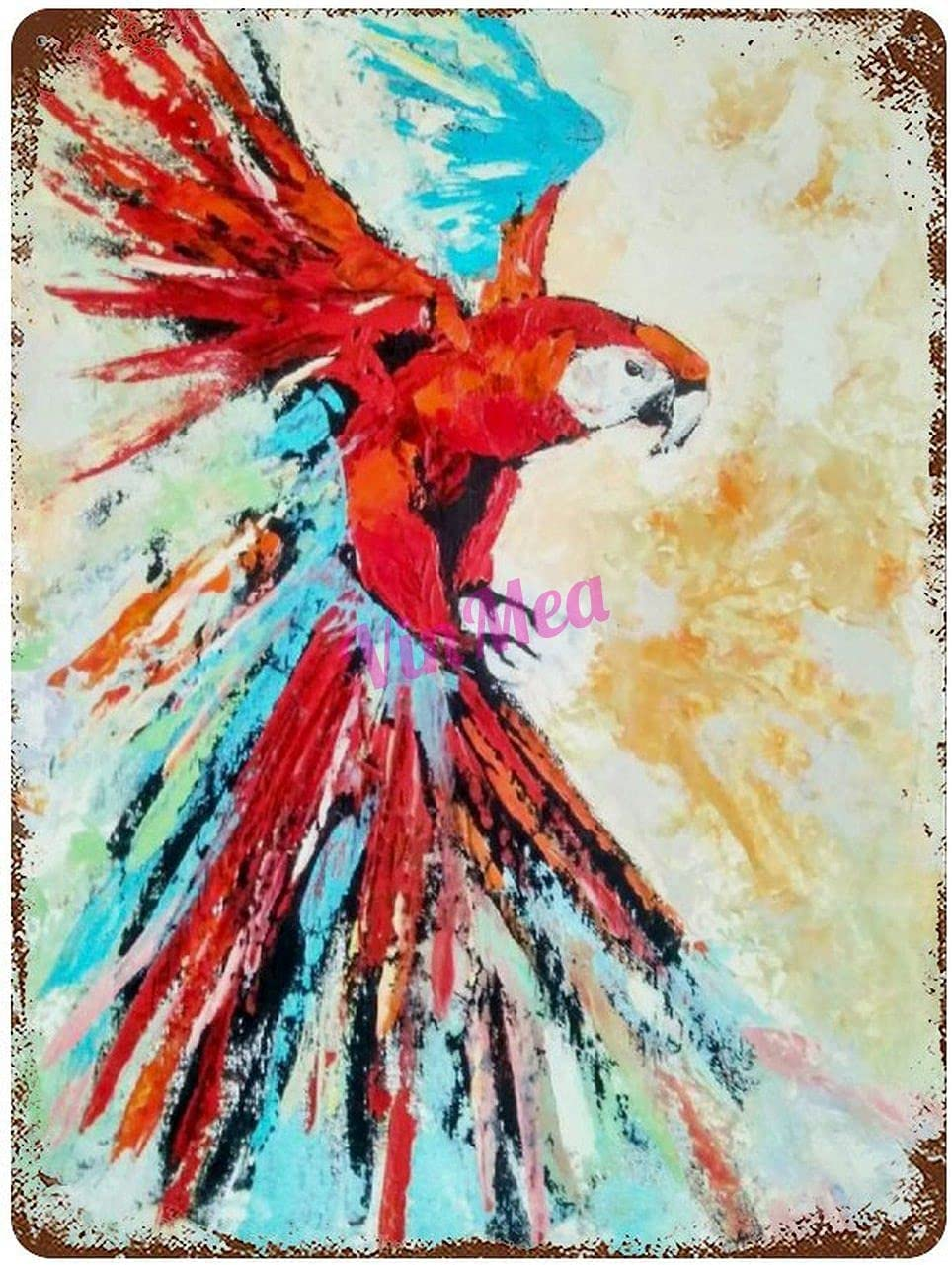 Vintage Iron Painting Picture of Parrot Picture of The Bird with Oil Retro Metal Signs Poster Wall Decor for Bar Cafe Home Garage 16×12 inches