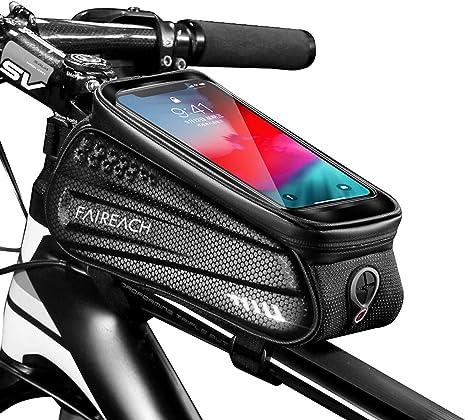 Faireach Bolsa Manillar con Soporte Móvil para Telefono Bicicleta, Bolsa Bici, Bolso Bicicleta Impermeable y con Ventana para Pantalla Táctil, para iPhone, Samsung y Otros Smartphones de hasta 6,5: Amazon.es: Deportes y