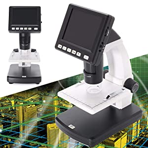 Techtest 3.5 Inch LCD Digital Microscope has a 5.0 Megapixel Image Sensor, 20X to 500X Magnification and a Micro SD Card Slot. Portable Stand Alone Microscope