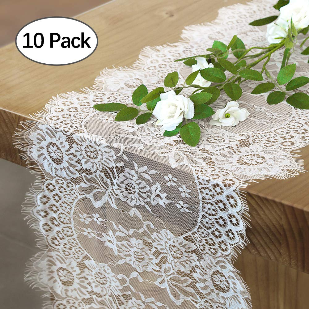 QueenDream 14x120 Inch White Table Runner With Lace 10 Pack Lace Table Runner Small Christmas Lace Runner by QueenDream