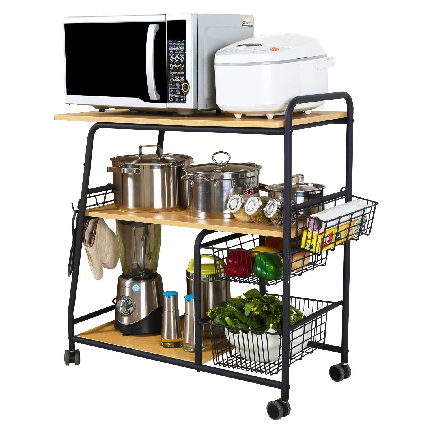 1208S Kitchen Storage Cart Serving Cart Bar Cart on Wheels with Storage Rack, 3-Tier 08CW12640002