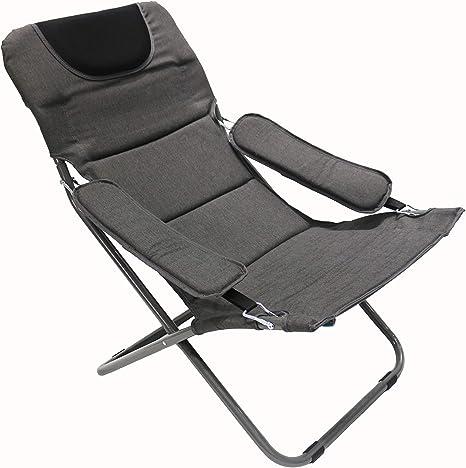 Homecall - Silla de camping plegable acolchada con respaldo ajustable (gris)