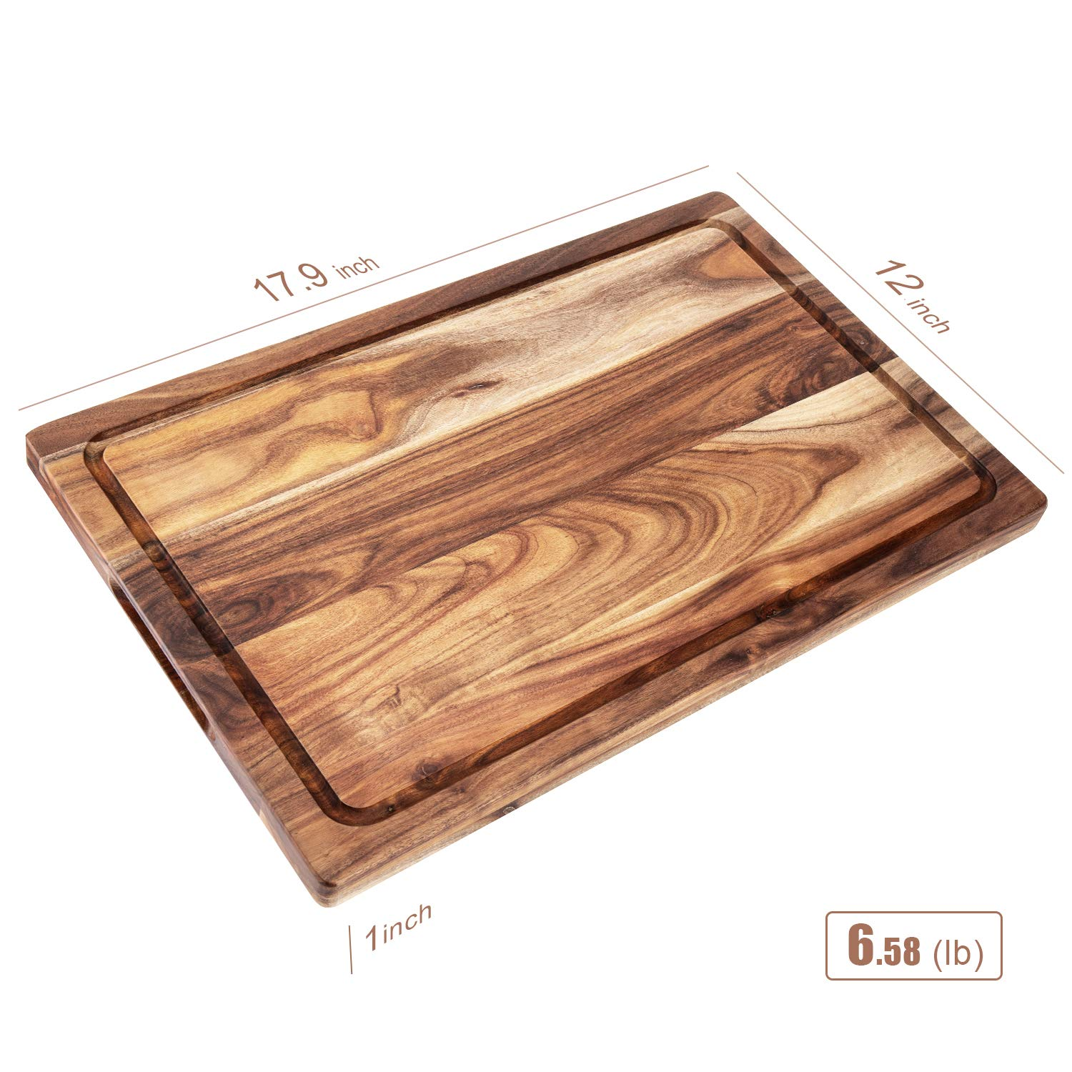 AIJAI Natural Wood Cutting Board(M-XL), Large Multipurpose Thick Acacia Wood Chopping Board for Kitchen Serving Tray for Vegetables, Fruit, Meat, Fish & Cheese| Reversible Butcher Block by AIJAI (Image #2)