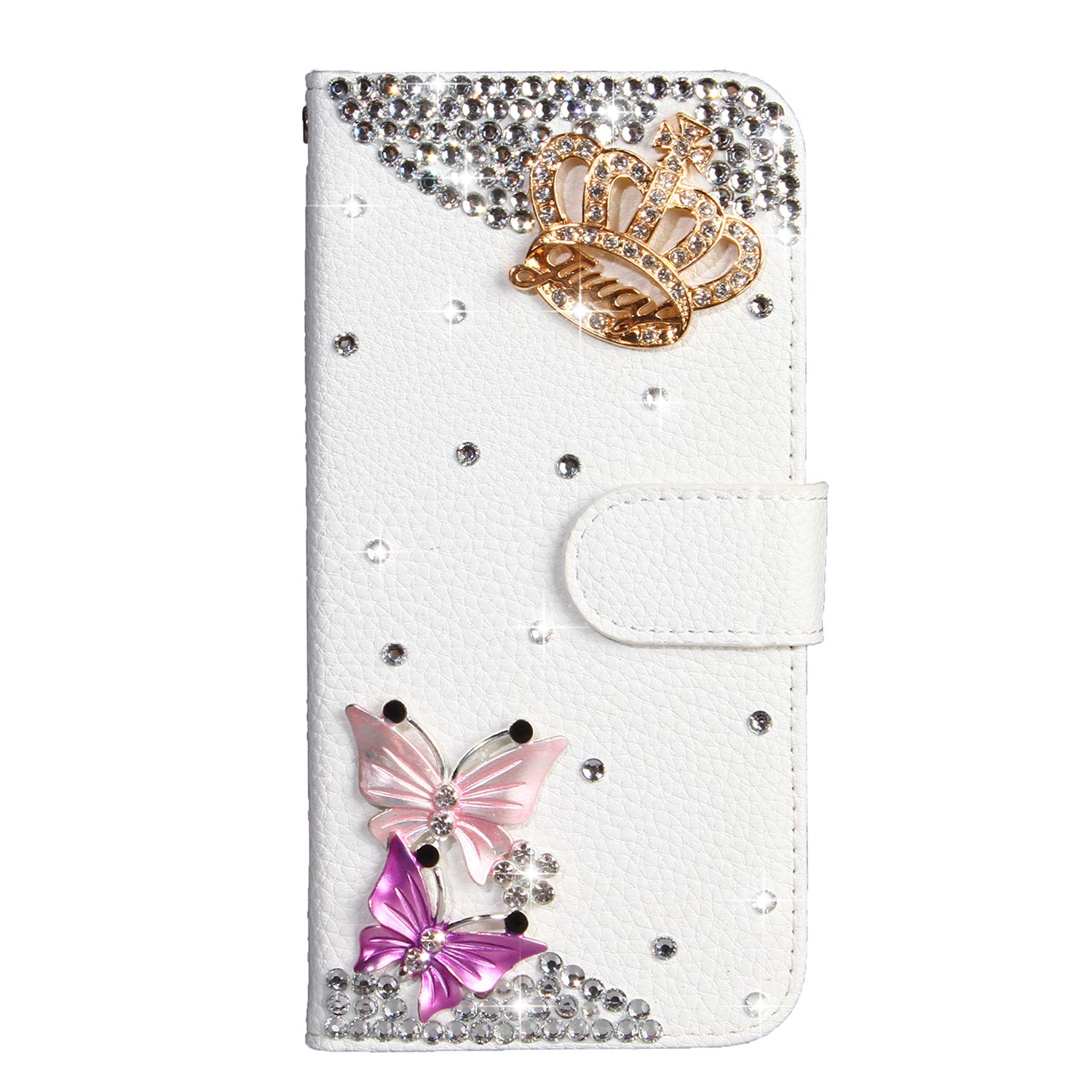 Crystal Wallet Case for Samsung Galaxy A8 2018,Aoucase Stylish Luxury 3D Handmade Crown Butterfly Design Bling Pocket Purse Soft Rubber Stand White Leather Case with Black Dual-use Stylus by Aoucase