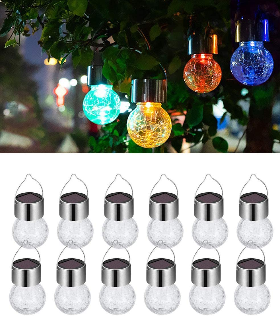 12 Pack Hanging Solar Powered LED Light with 10 Color Auto-Changing, Cracked Glass Ball Light, Waterproof Outdoor Decorative Lantern for Garden, Yard, Patio, Lawn
