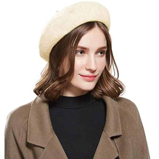 e0ff9a7473764 Image Unavailable. Image not available for. Color  WELROG Wool French Beret  Hat - Adjustable Casual Classic Solid Color Artist Caps for Women