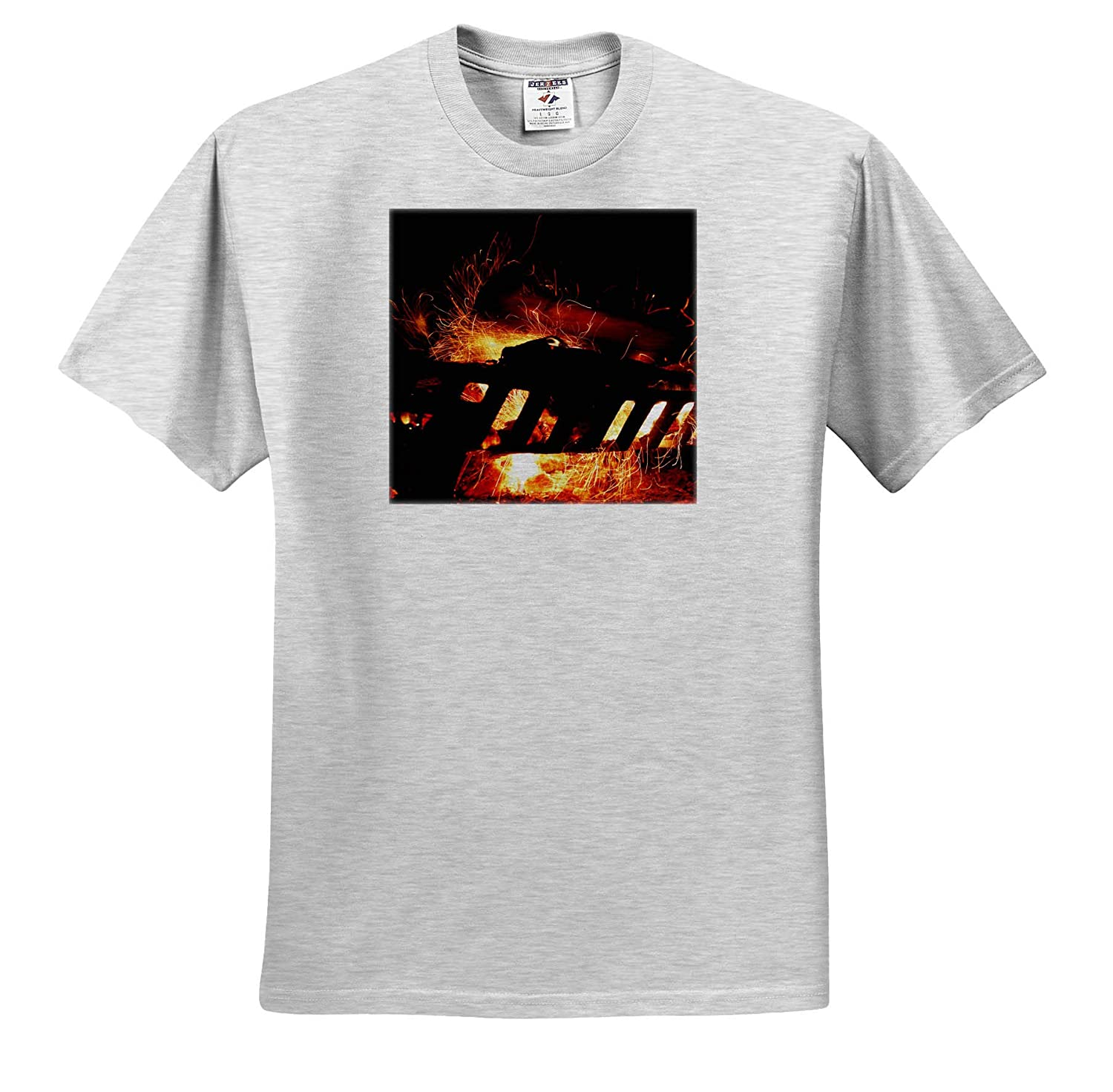 - T-Shirts Photograph capturing Sparks Created by a Log Being Thrown on a fire 3dRose Stamp City Nature