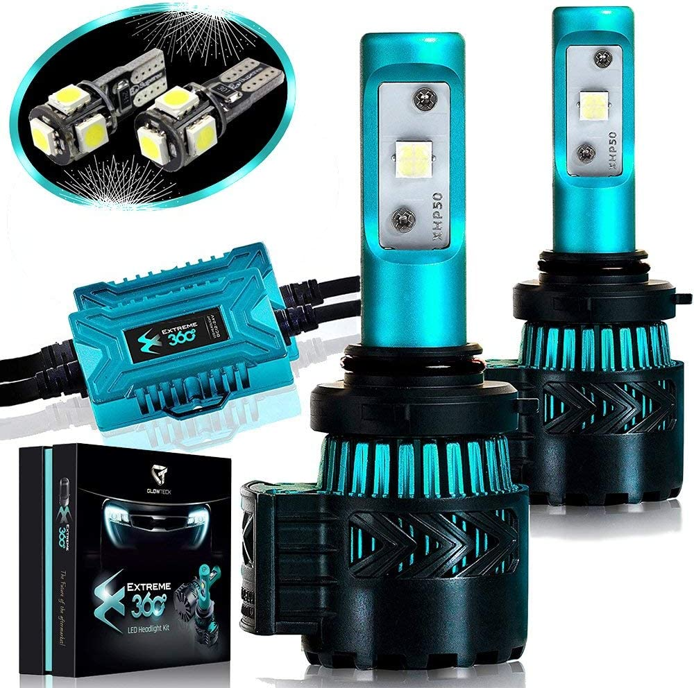 Glowteck LED Headlight Bulbs Conversion Kit - 9006 (HB4) Cree XHP50 Chip 12000 Lumens/Pair 68 Watt 6500 Kelvin 2 Year Warranty