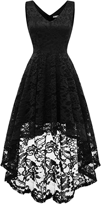 Women's Sleeveless Hi-Lo Lace Formal Dress