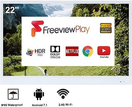 Soulaca 22 Pulgadas Blanco Inteligente TV IP66 TV a Prueba de Agua para baño, Hotel con Control Remoto (último Modelo de 2019): Amazon.es: Electrónica