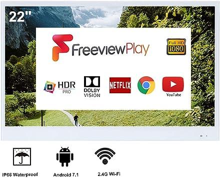 Soulaca Smart TV Blanco de 22 Pulgadas para Baño IP66 Resistente al Agua con Wi-Fi Integrado (Sistema Android TV 7.0): Amazon.es: Hogar