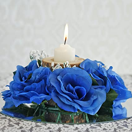 Pleasing Efavormart 8 Pcs Artificial Roses Flowers Candle Rings For Diy Wedding Centerpieces Party Home Decorations Wholesale Royal Blue Home Interior And Landscaping Fragforummapetitesourisinfo