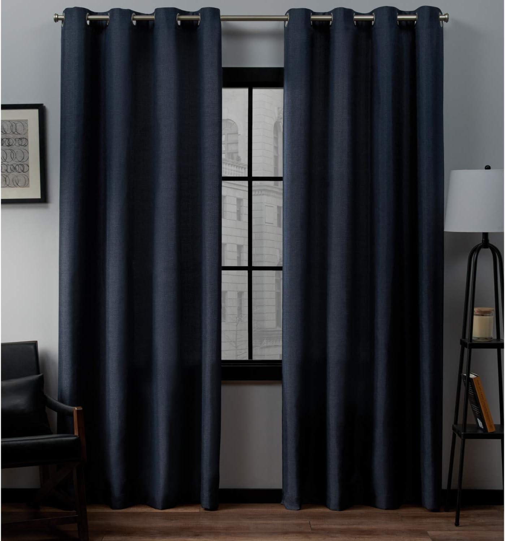 Exclusive Home Curtains Loha Linen Grommet Top Curtain Panel Pair, 54x84, Peacoat Blue