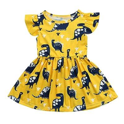 iumei Dinosaur Baby Girls Short Sleeve Tutu Dress Newborn Summer Cotton Sundress Cute
