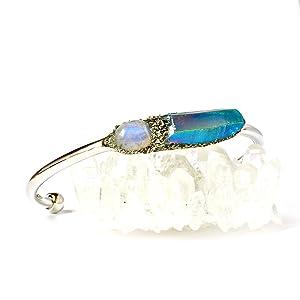 Raw Stone Bracelet with Tanzine Aura Quartz Crystal and Rainbow Moonstone Cabochon