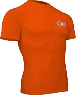 product image for HT-603S-CB Fitness Compression Fit, Short Sleeve Crew Neck Shirt (X-Small, Orange)