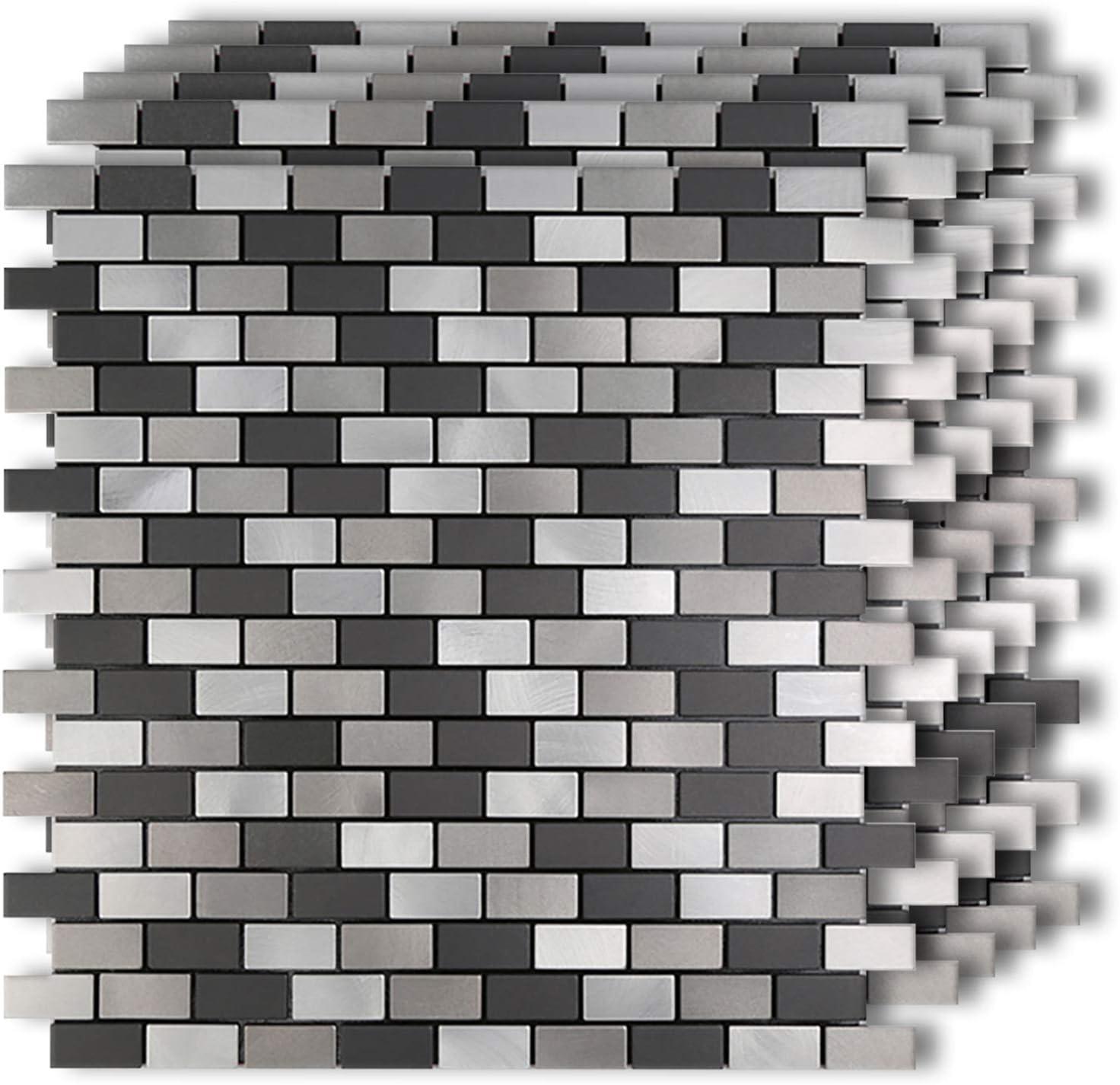 "HomeyMosaic Black&Grey Subway Stripe Peel and Stick Tile Metal Backsplash for Kitchen Bathroom Stove Walls Self-Adhesive Aluminum Surface Metal Smart Tiles 3D Wall Sticker(12""x12""x 5 Sheets)"