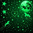 466 Piezas Calcomanías de Pared de Unicornio Brillan en la Oscuridad Pegatinas Luminosa de Luna Estrella Punto Calcomanías de Pared Techo de Resplandor Fluorescente (Verde Fluorescente)