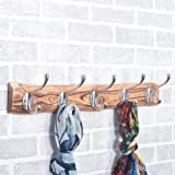 Casa Decor Clothes and Coat Hat Textured Wooden Rail/Rack 24.4-Inch with 5 Heavy Duty Wall Hooks Bathroom Towel Hanger