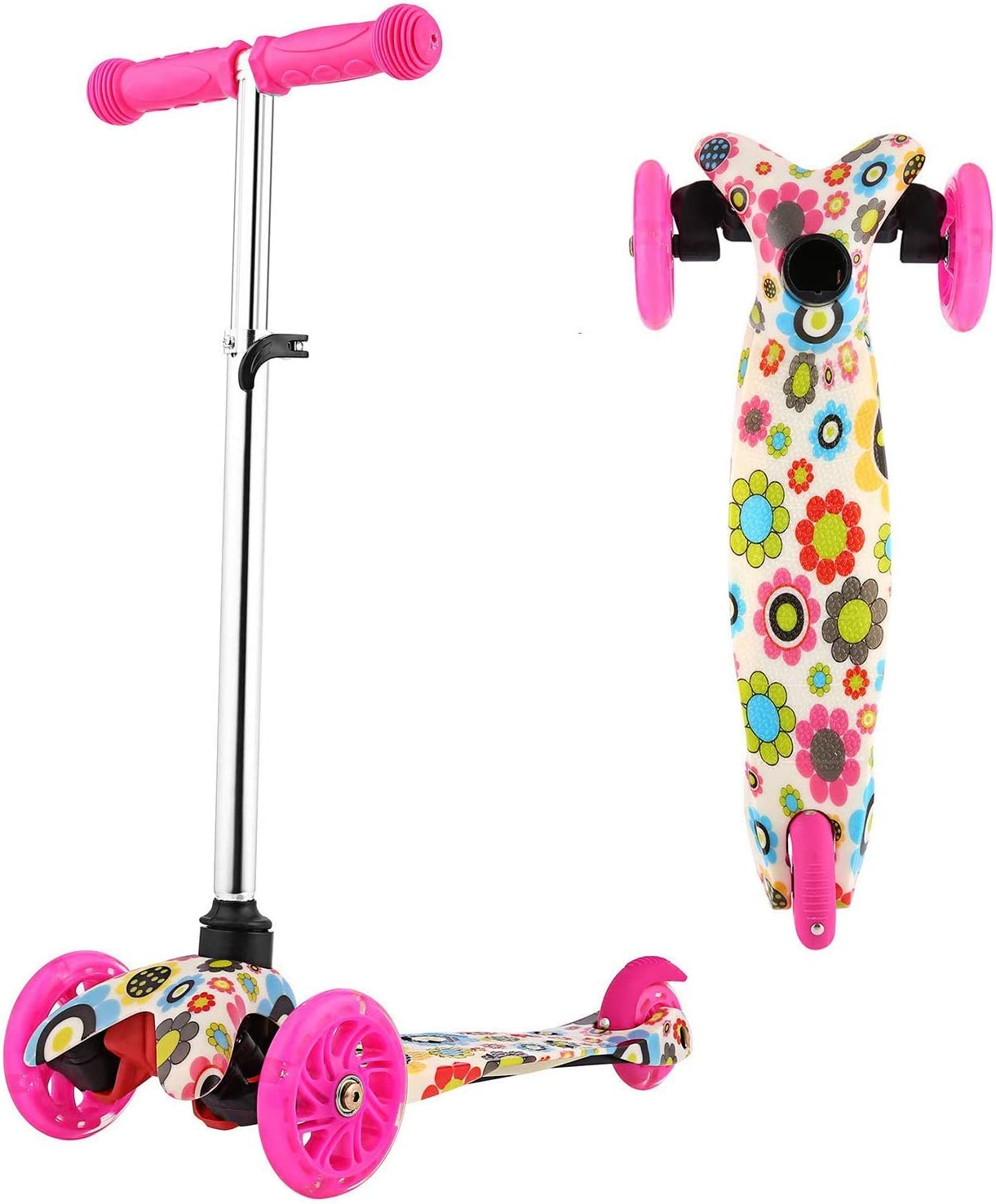 Scooter for Kids 3 Wheel Toddler Scooter with LED Light, Height Adjustable Kids Scooter for Boys Girls Age 2-8 Years Old