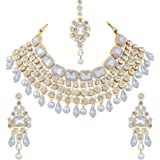 Aheli Ethnic Indian Traditional Maang Tikka Pearl Kundan Necklace Earrings Set Bollywood Festive Jewelry for Women Girls (White)