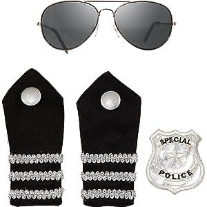 Police police policier 4 épaulettes de lunettes et patch