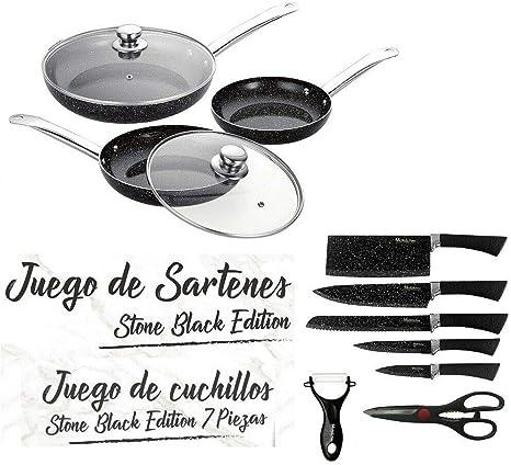 MAXELLPOWER Juego DE 3 SARTENES 2 Tapas Cuchillos Tijeras ...