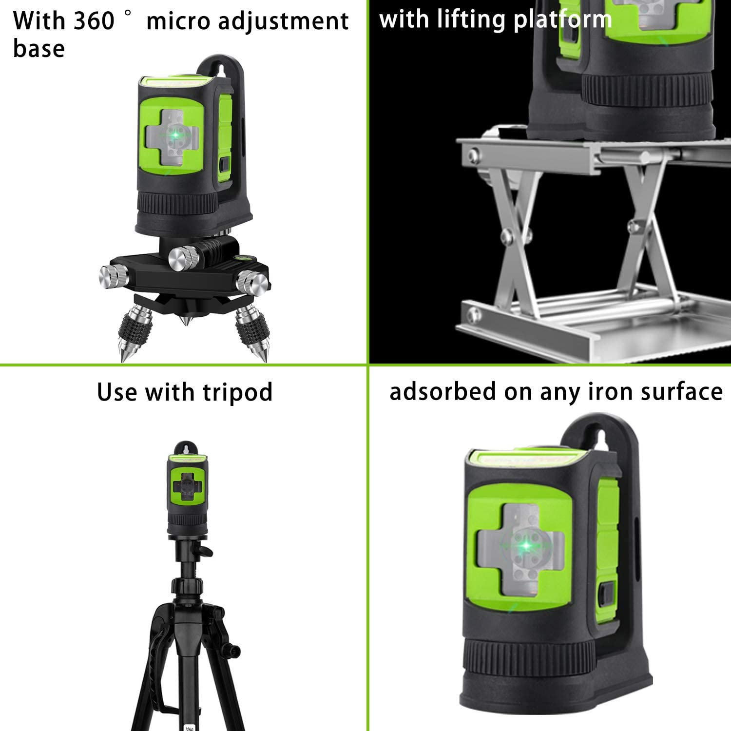 Horizontal and Vertical Lines MAKINGTEC SA-02CG Laser Level Self-Leveing Mini Cross Line Laser for DIY with Magnetic Bracket Green Laser Beam//Green Color