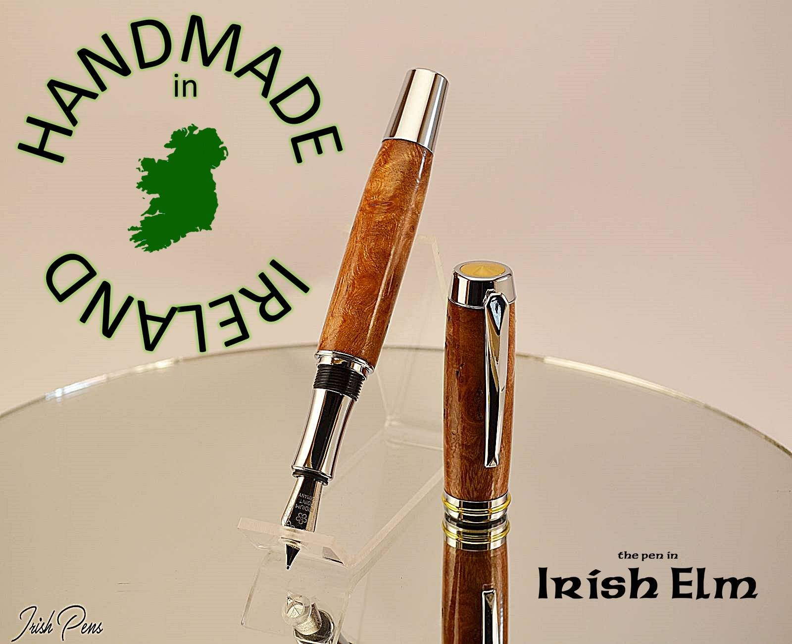 Fountain pen with FREE Desk stand, pen in Irish Elm handmade in Ireland, wooden ink pen, writers dip pen, Poets Pen Pal, FREE personal note in the lid of the pen case