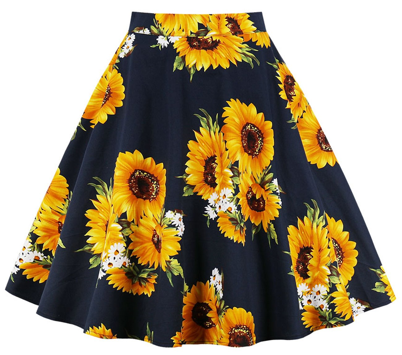 Cleaivy Women's Midi Pleated A Line Floral Printed Vintage Skirts (Black Sun Floral, Medium)