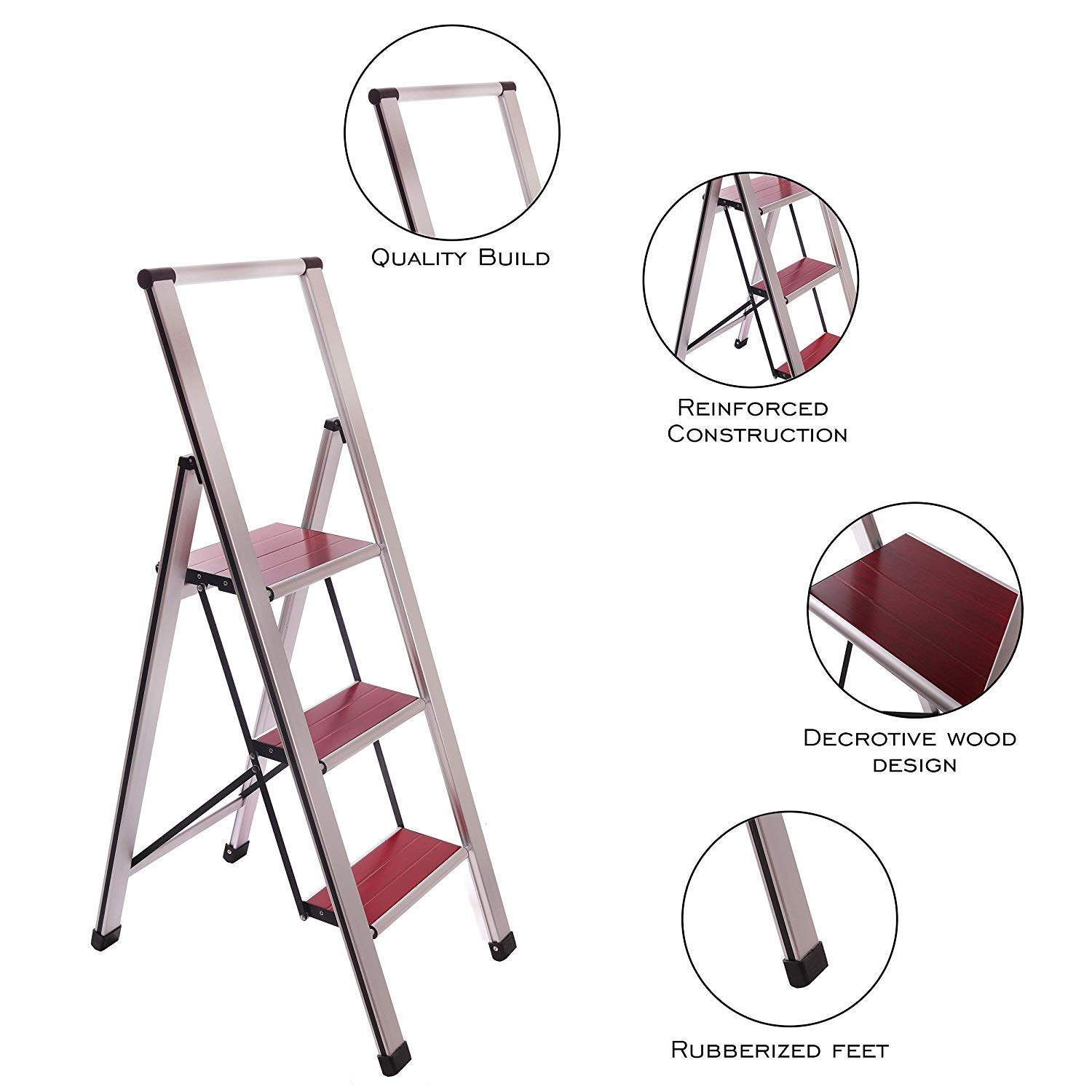 Aluminum Folding 3 Step Ladder Stool for Adults, Anti Slip, Sturdy, Lightweight and Slim Design, Heavy Duty Stepping Stools, Silver/Mahogany by Sorfey