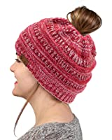 VANGAY Beanie Tail Women's Soft Stretch Knit, Messy High Bun Ponytail Beanie Tail Cap Hat