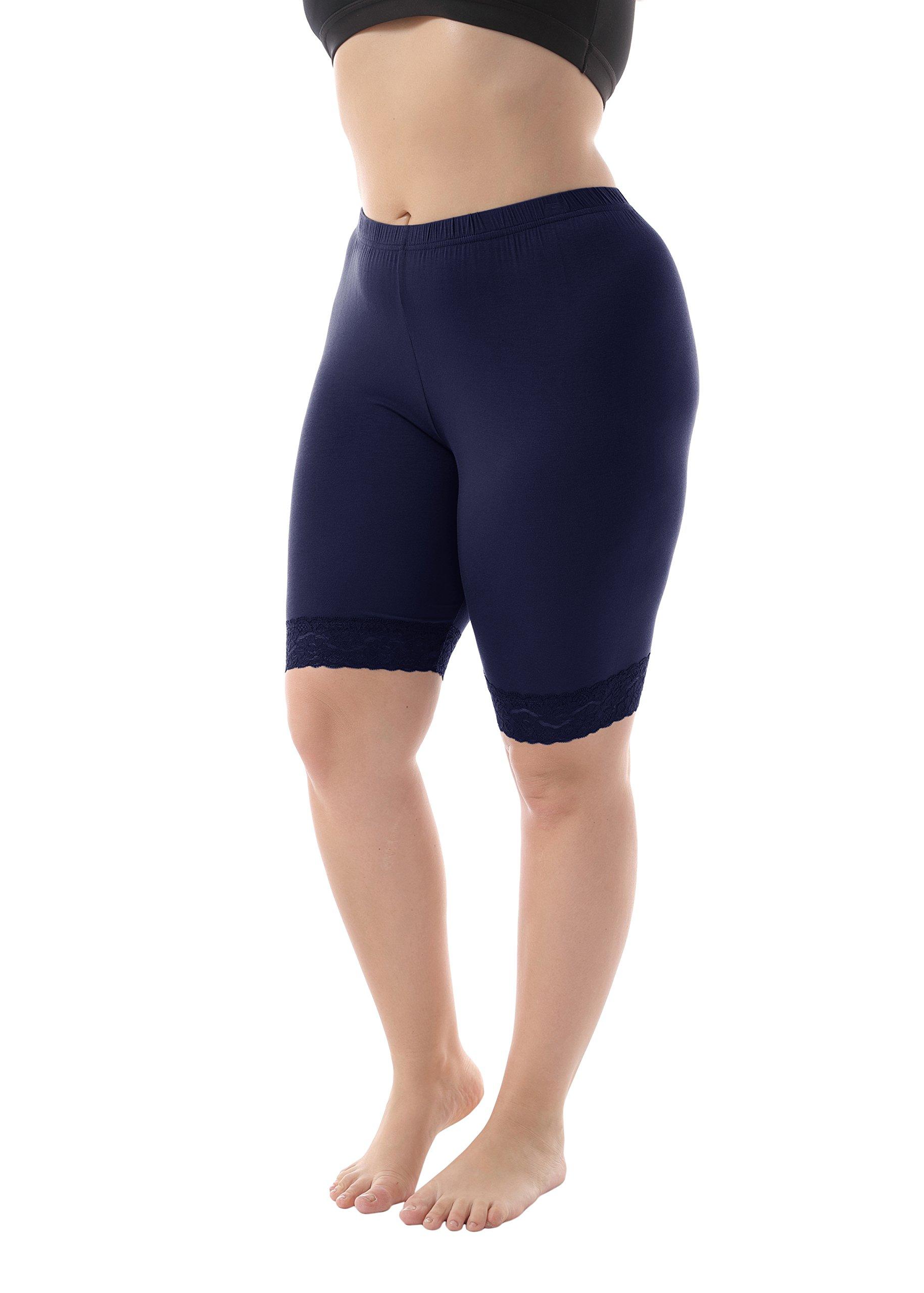 ZERDOCEAN Women's Plus Size Short Leggings with Lace Trim Navy 2X Shorts