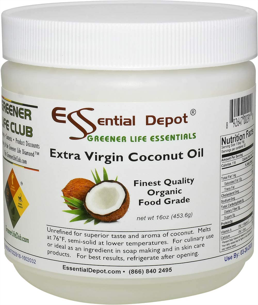 Coconut Oil - Extra Virgin - Organic - 1 lb - 16 oz - Food Grade - Safety Sealed HDPE Container with resealable Cap