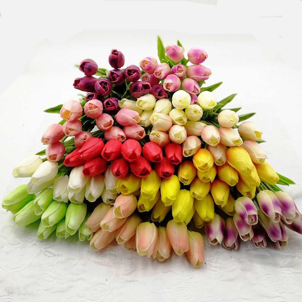 XIAOHESHOP XHSP 30 pcs Real-touch Artificial Tulip Flowers Home Wedding Party Decor (Champagne)